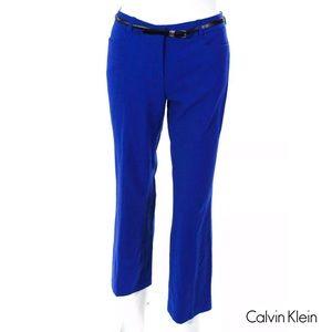 CALVIN KLIEN Blue Modern Fit Pleated Belted Pants